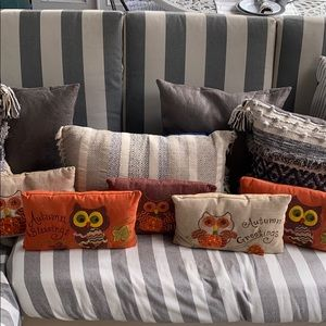 FALL Y'ALL 🎃OWL LINEN PILLOWS. ALL 5! 🎃🍁🍂
